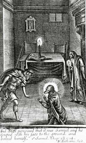 Illustration portraying a scene from the Bible wherein the Witch of Endor uses a necromantic ritual to conjure the spirit of Samuel at the behest of Saul